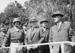 Major General Frank Parks, General George Patton, Colonel W. H. Kyle, J. J. McCloy, H. H. Bundy, and US Secretary of War Henry Stimson, reviewing US 2nd Armored Division, Berlin, Germany, 20 Jul 1945, photo 1 of 4