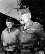 Major General Hugh J. Gaffey and Lieutenant General Patton, Néhou, Basse-Normandie, France, 7 Jul 1944