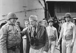 Patton and Rear Admiral H. Kent Hewitt aboard USS Augusta, off North Africa, 8 or 9 Nov 1942
