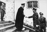 Hitler greeting Pavelic at his Berghof residence near Berchtesgaden, Germany, 22 Sep 1942