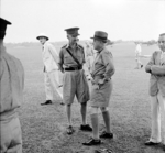 British Army Lieutenant General Arthur Percival welcoming US envoy Averell Harriman at Sembawang Airfield, Singapore, 30 Oct 1941
