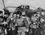 Pokryshkin with pilots of the 16th Guards Fighter Regiment, circa Aug 1944; left to right: Goregljad, Klubov, Bierezkin, Pokryshkin, Trofimov, Pyzikov; note P-39 Airacobra in background