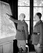 Lord Gort and Lieutenant General Pownall study a map at GHQ in the Chateau at Harbarcq, France, 26 Nov 1939