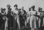 Colonel Lewis Puller, General Douglas MacArthur, General Oliver Smith, and other US officers at Puller