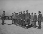 Brigadier General Lewis Puller inspecting staff and battalion commanders, Korea, 1951
