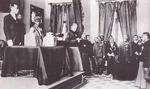 Inauguration ceremony of Puyi as the Chief Executive of the puppet state of Manchukuo, Xinjing (Changchun), China, 9 Mar 1932