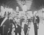Emperor Showa of Japan and Emperor Kangde of puppet state of Manchukuo, Tokyo Station, Tokyo, Japan, 1935