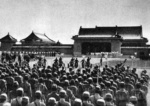 Emperor Kangde of the puppet state of Manchukuo arriving at the dedication ceremony of the Manchukuo National Martyr Shrine, Xinjing (Changchun), China, 18 Sep 1940