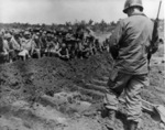 Funeral service for Ernie Pyle, Okinawa, Japan, 20 Apr 1945