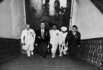 Manuel Quezon climbing the stairs of Malaca?ang Palace for the first time as the president, Manila, Philippine Islands, 15 Nov 1935