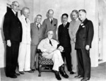 Walter Nash, Lord Halifax, Song Ziwen, Alexander Loudon, and Manuel Quezon with Franklin Roosevelt, Washington DC, United States, 1 Jan 1942