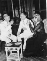 Admiral Thomas C. Hart, Philippine President Manuel Quezon, and future US Congresswoman Clare Boothe Luce, Oct 1941