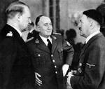 Minister President Vidkun Quisling of Norway with Führer Adolf Hitler of Germany, circa 1942-1945