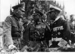 Field Marshal von Blomberg, Colonel General von Fritsch, and Admiral Raeder at the main market area of N?rnberg, Germany during a Nazi rally, 13 Sep 1936