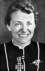 Portrait of Hanna Reitsch, circa Mar-Apr 1941; note Iron Cross Second Class medal