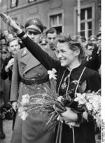 German Luftwaffe Flugkapitän Hanna Reitsch visiting her home town of Hirschberg, Germany, Mar-Apr 1941; note Reitsch