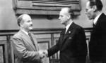 Vyacheslav Molotov and Joachim von Ribbentrop shaking hands, Moscow, Russia, 28 Sep 1939
