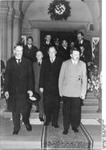 Neville Chamberlain and Adolf Hitler in Bad Godesberg, Germany, 22-24 Sep 1938; note Joachim von Ribbentrop in background