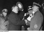 Vyacheslav Molotov and Joachim von Ribbentrop shaking hands, Anhalter Station, Berlin, Germany, 14 Nov 1940