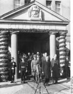 Neville Chamberlain and Joachim von Ribbentrop leaving Hotel Petersburg in Bad Godesberg, Germany, 25 Sep 1938
