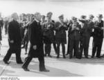 Neville Chamberlain and Joachim von Ribbentrop at the Köln airport, Germany, 25 Sep 1938