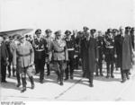 Adolf Wagner, Kurt Daluege, Franz von Epp, Neville Chamberlain, and Joachim von Ribbentrop at München airport, Germany, 29 Sep 1938