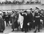 French Prime Minister Edouard Daladier departing Munich, Germany after the Munich Conference, 30 Sep 1938, photo 1 of 2; Franz von Epp and Joachim von Ribbentrop also present