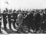 Gauleiter Adolf Wagner, Foreign Minister Ribbentrop, and Ambassador Henderson accompanied Prime Minister Chamberlain as the latter was leaving Germany after Munich Conference, Germany, 30 Sep 1938