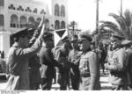 Italian General Italo Gariboldi welcoming German Generals Erwin Rommel and Johannes Streich to Tripoli, Libya, 12 Feb 1941