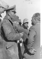 Erwin Rommel speaking to German officers near Tobruk, Libya, 29 Nov 1941
