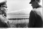 Rommel observing the Atlantic Wall near Ouistreham, Normandy, France, late May 1944