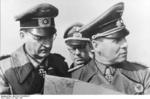 German Field Marshal Erwin Rommel and Lieutenant General Hans Speidel at Pas de Calais, France, 18 Apr 1944
