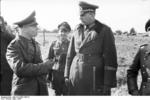 German Field Marshal Erwin Rommel in conversation with Lieutenant General Erwin Menny, Northern France, Mar 1944