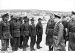 Field Marshal Rommel inspecting Indian troops in German service, Lacanau Océan, France, 10 Feb 1944; also present were Lieutenant General Günther Krappe and Lieutenant General Hermann Meyer-Rabingen