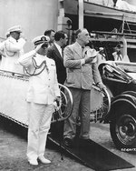 Roosevelt and his Naval Aide, Captain Daniel J. Callaghan, taking the salute of a composite Battalion of the 14th Infantry at Gatun Locks, Panama Canal Zone, 18 Feb 1940