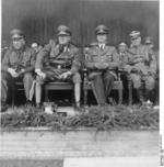 German officials Otto-Heinrich Drechsler, Hinrich Lohse, Alfred Rosenberg, and Eberhard von Medem on a visit to the Baltic States, 1942