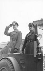 Rundstedt and Blaskowitz reviewing the German victory parade before the opera house in Warsaw, Poland, 2 Oct 1939