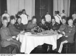 Leeb, Fritsch, Himmler, Blomberg, Raeder, Rundstedt, and Wachenfeld at a dinner, Germany, 13 Jan 1935