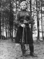 Roza Shanina with her Mosin-Nagant rifle with PU scope, Nov 1944