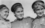 Red Army snipers Faina Yakimova, Roza Shanina, and Lidia Volodina, 1940s