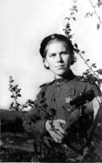 Roza Shanina with her Mosin-Nagant rifle with PU scope, 1940s