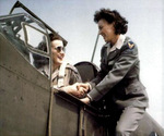 WAFS pilots Barbara London (in cockpit) and Evelyn Sharp, 1942-1944