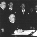 Prime Minister Shigeru Yoshida signing the Treaty of San Francisco, California, United States, 8 Sep 1951, photo 2 of 2