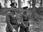 German Col General Nikolaus von Falkenhorst and Finnish Maj General Hjalmar Siilasvuo at their meeting in Kuusamo, Finland, 29 Aug 1941. Photo 1 of 4.