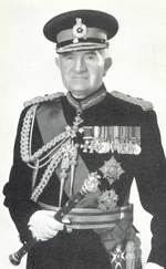 Portrait of William Slim, with full decorations and holding Field Marshal