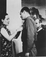 Song Meiling awarding Captain Henry Potter for the Doolittle Raid success, Chongqing, China, 29 Jun 1942