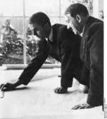 Speer presenting an architectural drawing to Hitler at Berchtesgaden, Bavaria, Germany, 1938