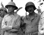 Raymond Spruance and Holland Smith at Charan Kanoa, Saipan, Mariana Islands, 10 July 1944