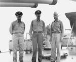 King, Nimitz, and Spruance aboard USS Indianapolis,18 Jul 1944