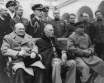 Churchill, Roosevelt, and Stalin at the Livadia Palace in Yalta, Russia (now Ukraine), Feb 1945, photo 3 of 4